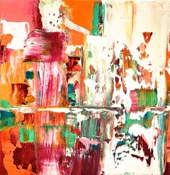 """Small Abstract #72""  Expressionist Oil in White, Burgundy, Orange, Green"