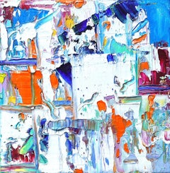 """""""Small Abstraction #133"""" Expressionist Abstract Colorful Oil Paint Blue Orange"""