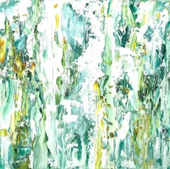"""Small Abstraction #141""   White,  turquoise, green and yellow"