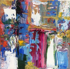 """""""Small Abstraction #96""""    Vivid Lush Abstract Expressionist Oil Multi-Colored"""