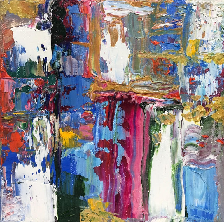 """Linda Holt Abstract Painting - """"Small Abstraction #96""""    Vivid Lush Abstract Expressionist Oil Multi-Colored"""