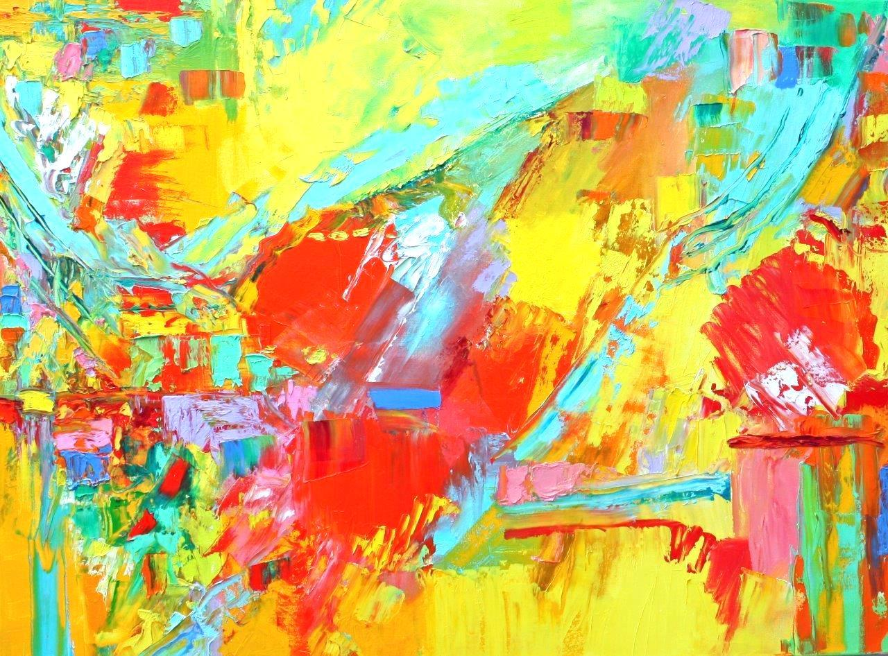 """Large Horizontal Abstraction, with Orange, Yellow, Turquoise, Green, and Red"""
