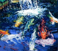 """""""Waterfall 4""""  Large Light-Filled Colorful Koi Fish Underwater with Waterfall"""