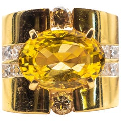 Linda Joslin 12+ Carat Gold Sapphire Ring with 1.50 Carat Diamonds