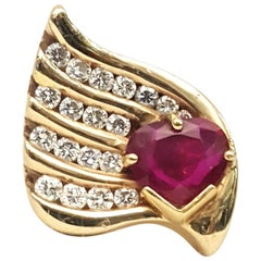 Linda Joslin 18 Karat Heart Shape Ruby and Diamond Ring