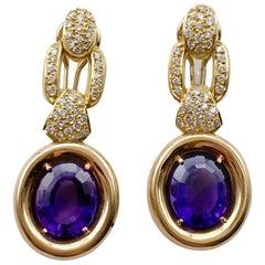 Linda Joslin Amethyst Earrings 12 Carat with Diamonds 1.40 Carat F/VS 14K Gold