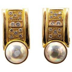 Linda Joslin Mabe Pearl Earrings with 1.50 Carat of Diamonds 14 Karat Gold