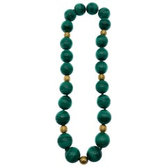 Linda Joslin Malachite & 18k Gold Beaded Necklace