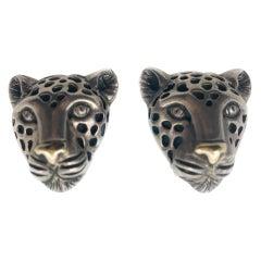 Linda Joslin Sterling Silver & 14K Gold Leopard Earrings