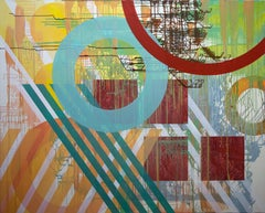 Large Contemporary Geometric Abstract Oil Painting by Linda Schmidt - Circuit