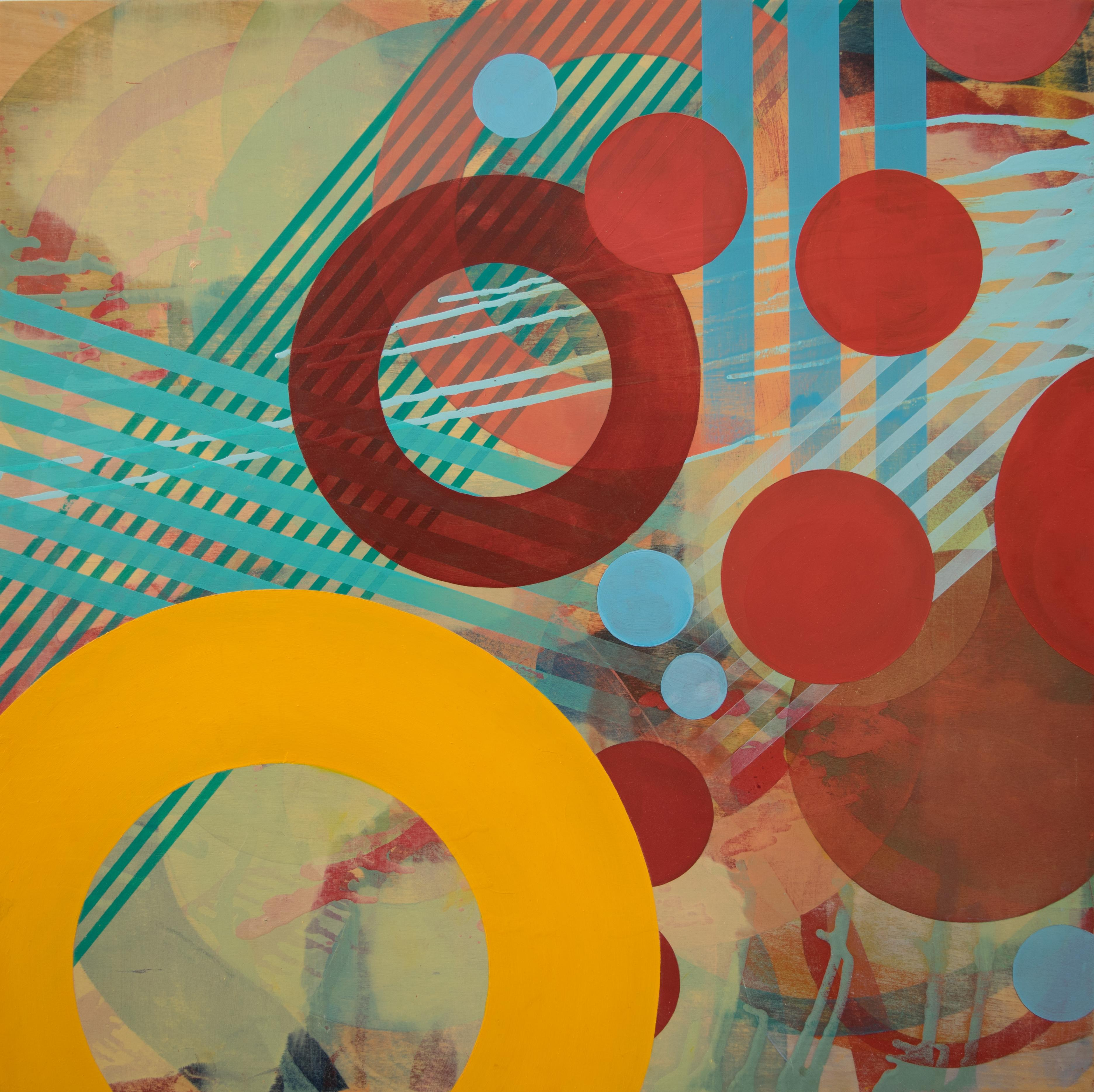 Primary Colors Square Contemporary Geometric Abstract Painting by Linda Schmidt