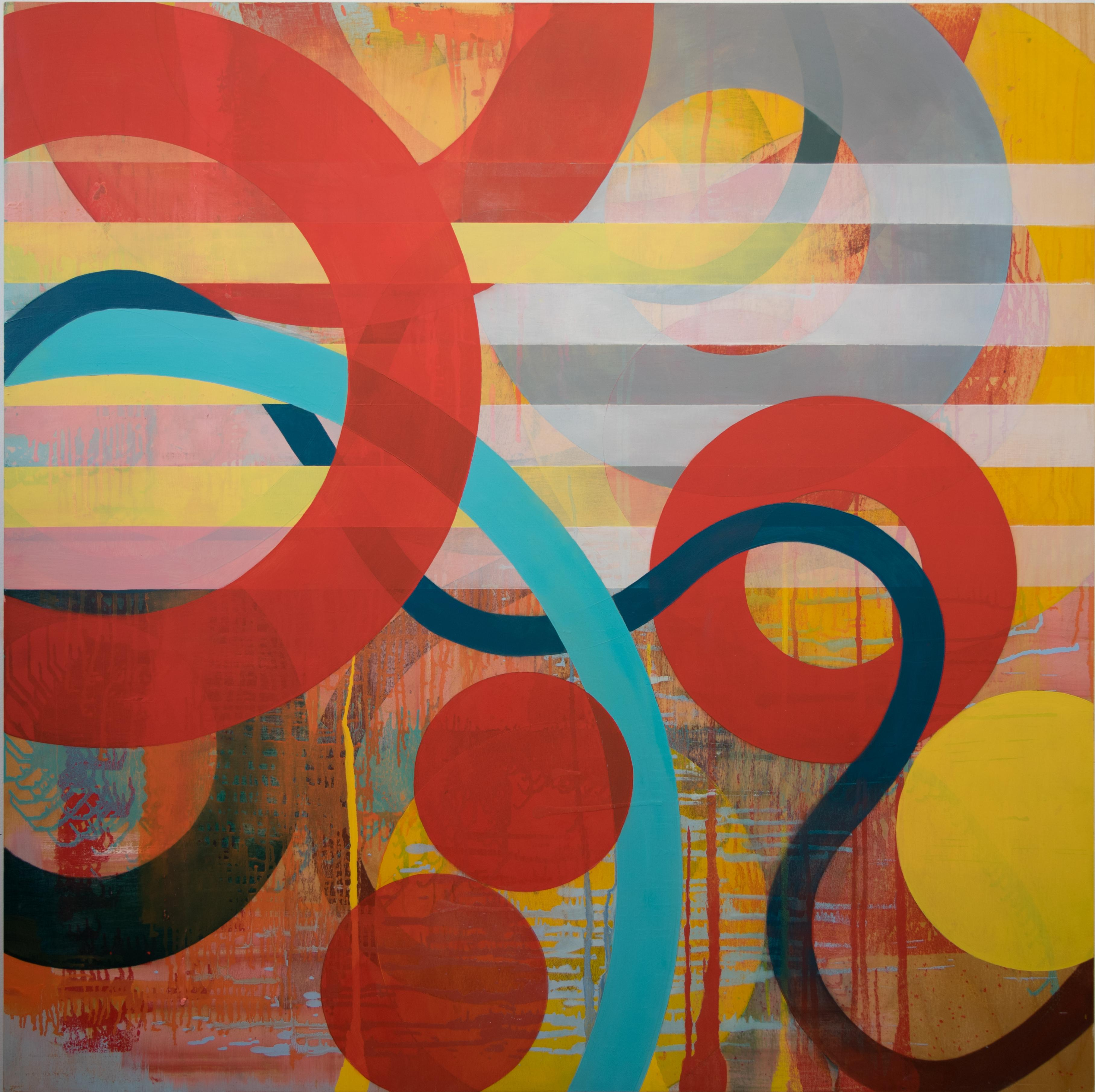 Square Contemporary Geometric Abstract in primary color by Linda Schmidt - Drift