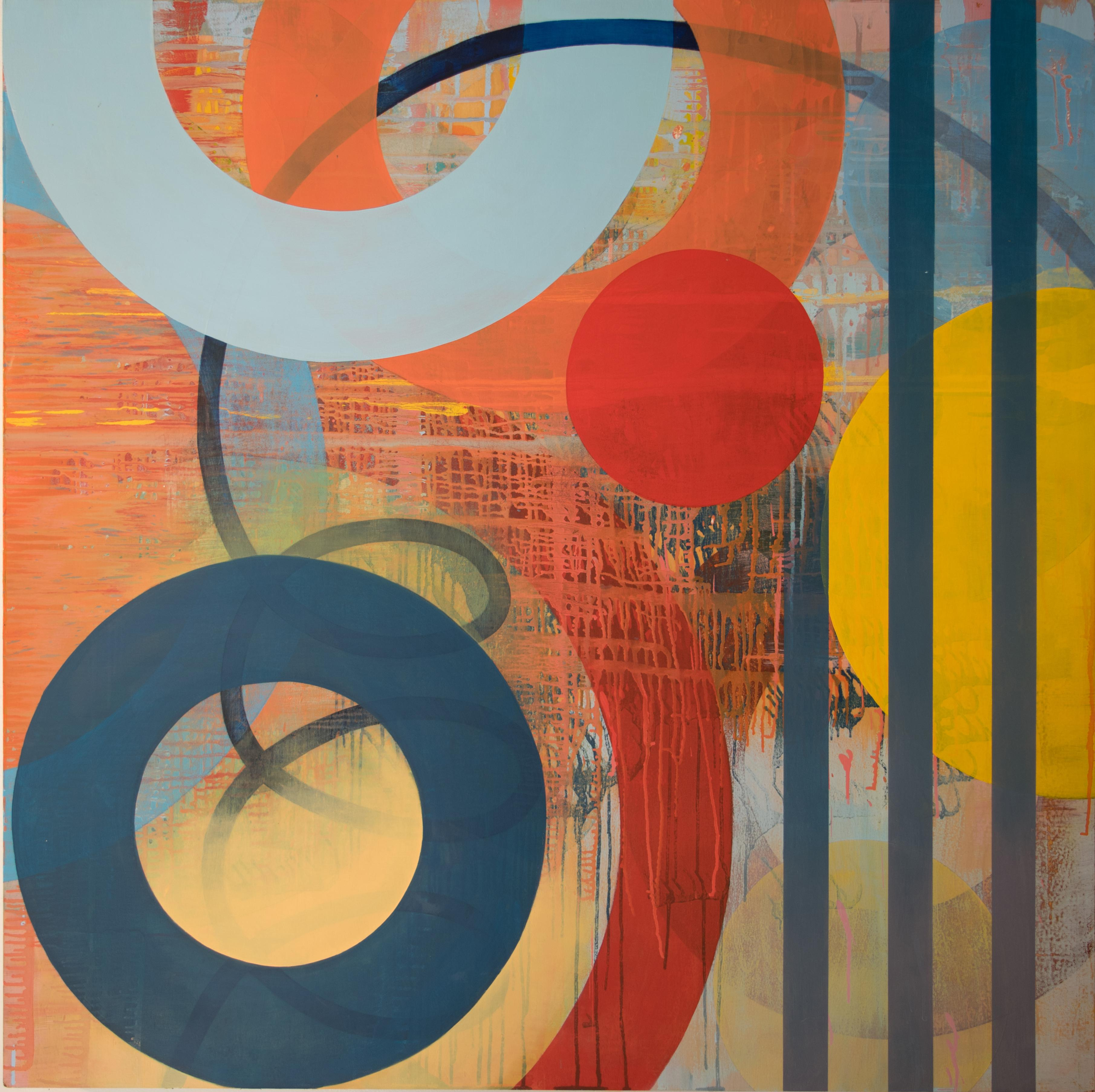 Square Contemporary Geometric Abstract Oil Painting by Linda Schmidt - Float