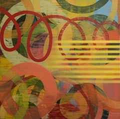 Square Contemporary Geometric Abstract Oil Painting by Linda Schmidt - Red Loops