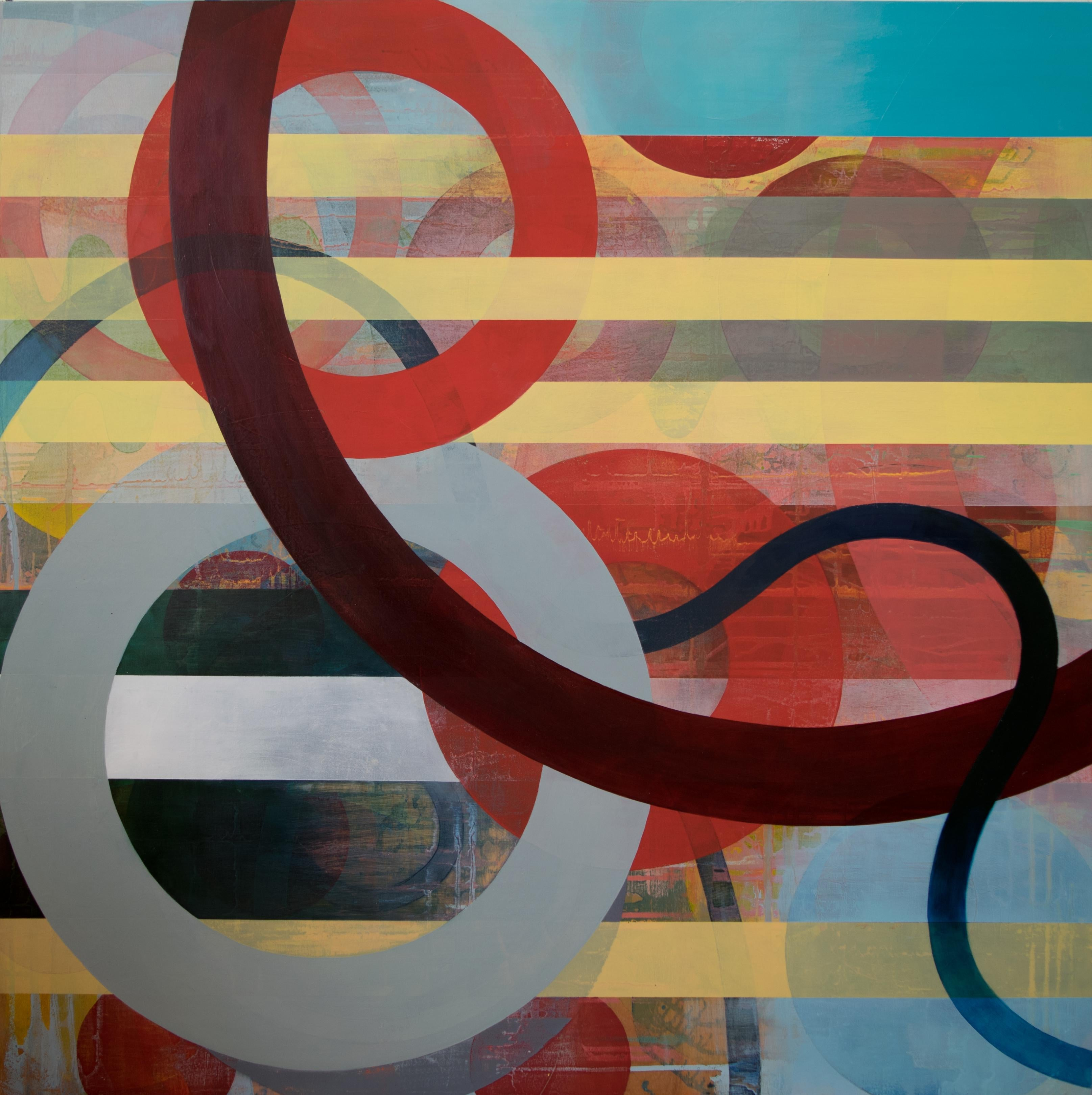 Square Contemporary Geometric Abstract Oil Painting by Linda Schmidt - Seek