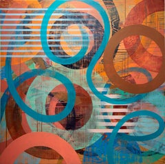 Warm and Cool toned Geometric Abstract Painting by Linda Schmidt - Blue Rope