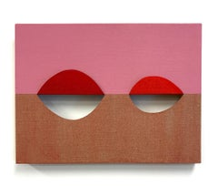 Equivalence 122 - acrylic on cut linen - pink abstract geometric painting