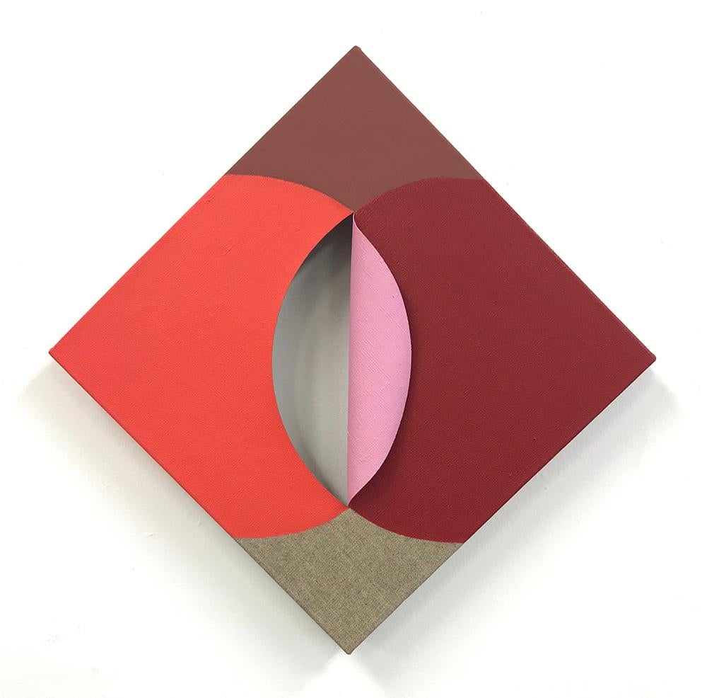 Equivalence 124- Acrylic on cut Linen - Red, Pink Abstract Geometric Painting