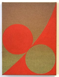 Equivalence 82- Tint and Acrylic on Linen - Red Abstract Geometric Painting