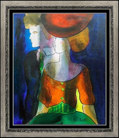 Linda Le Kinff Oil Painting on Board Signed Authentic Original Cubism Artwork