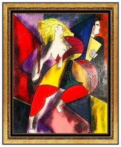 Linda Le Kinff Original Modern Cubism Painting Oil on Board Signed Modern Art