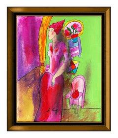 Linda Le Kinff Original Oil On Canvas Painting Female Portrait Cat Modern Signed