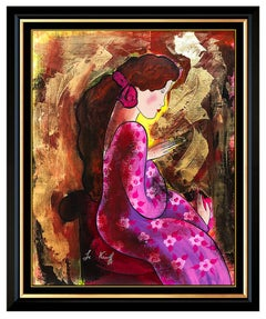 Linda Le Kinff Original Oil Painting On Canvas Signed Female Portrait Framed Art