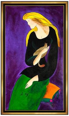Linda Le Kinff Original Oil Painting On Canvas Signed Large Female Portrait Cat
