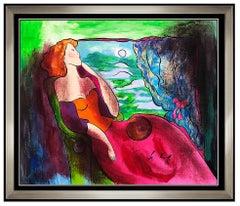 Linda Le Kinff Original Painting Female Portrait Landscape Signed Oil On Canvas