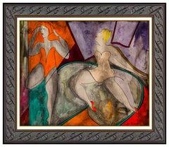 Linda Le Kinff Painting Original Oil On Board Female Signed Modern Cubism Art