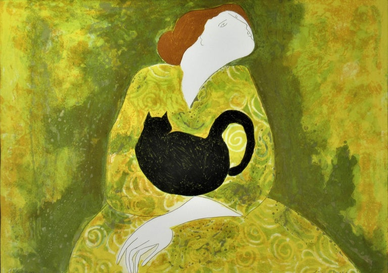 Woman with Cat - Print by Linda Le Kinff