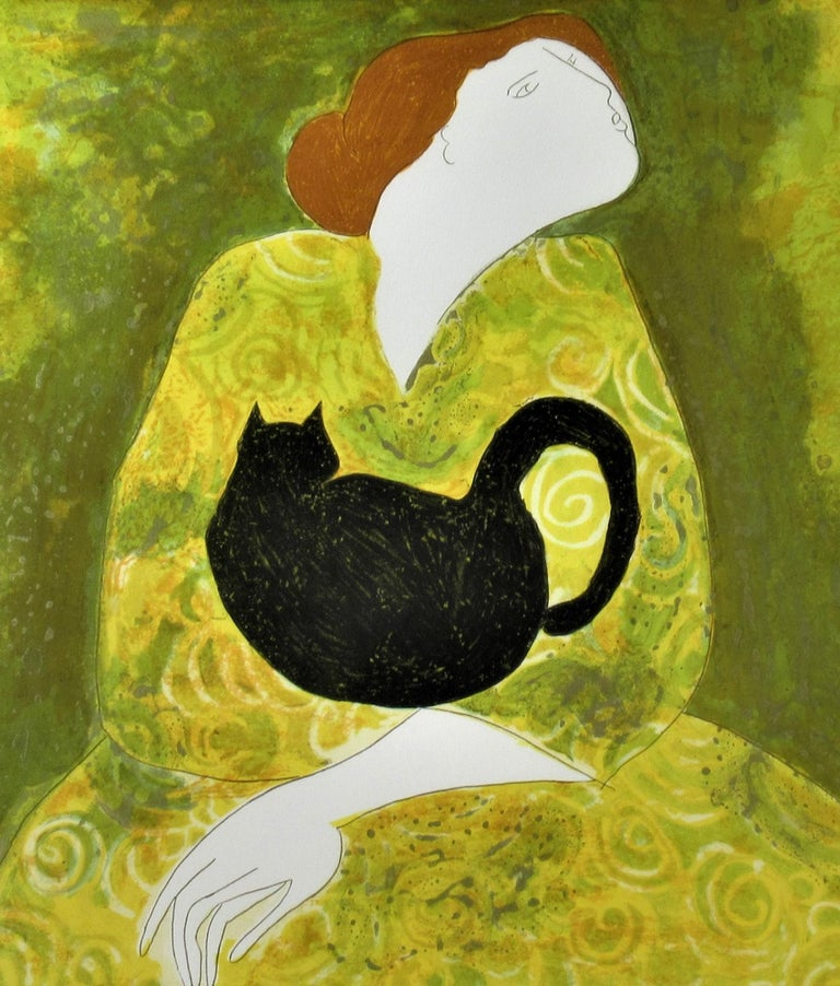 Woman with Cat - Contemporary Print by Linda Le Kinff