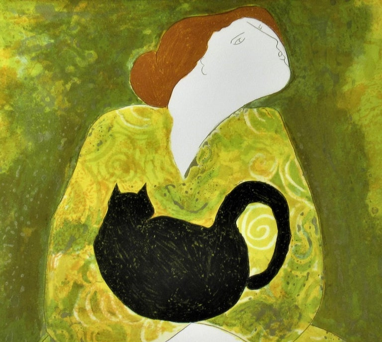 Woman with Cat - Brown Figurative Print by Linda Le Kinff