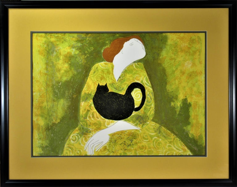 Linda Le Kinff Figurative Print - Woman with Cat
