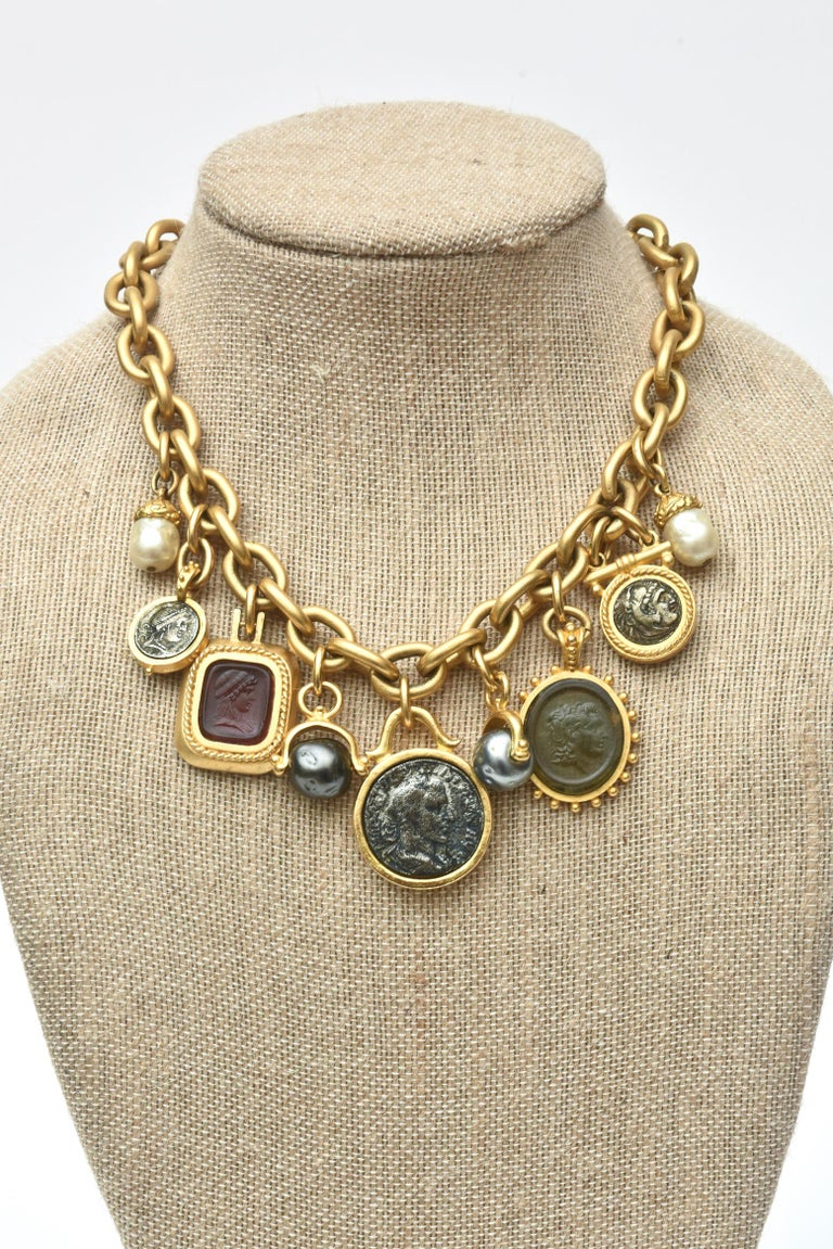 Linda Levinson Roman Fab Coin Dangle Chain Necklace Signed Vintage For Sale 2