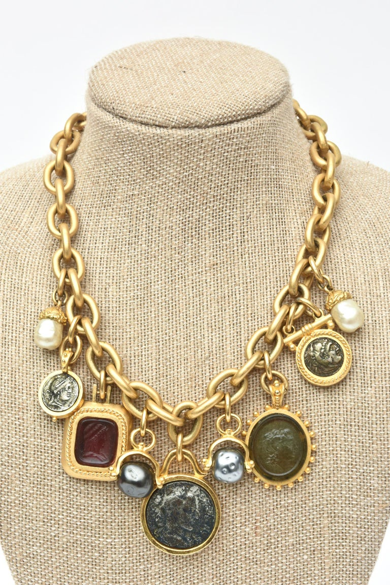 Linda Levinson Roman Fab Coin Dangle Chain Necklace Signed Vintage For Sale 3
