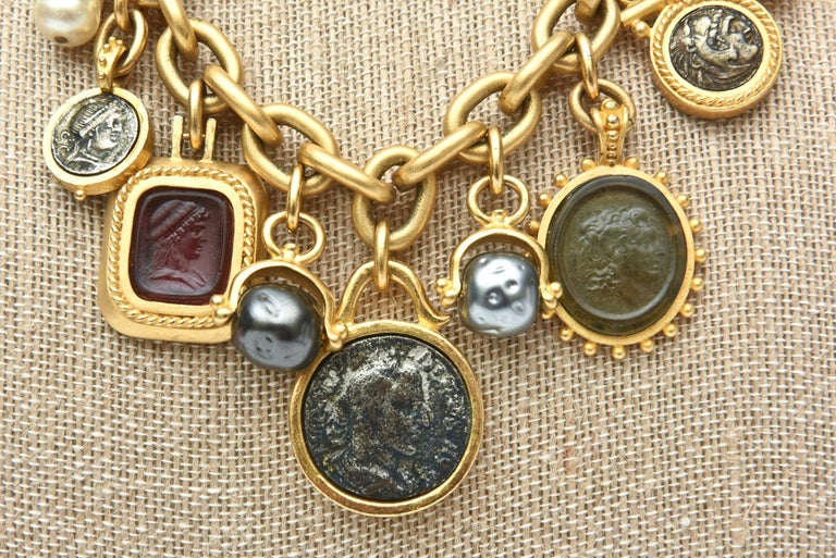 Linda Levinson Roman Fab Coin Dangle Chain Necklace Signed Vintage For Sale 4