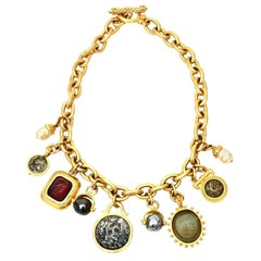Linda Levinson Roman Fab Coin Dangle Chain Necklace Signed Vintage