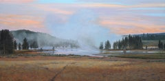 Morning Near Mud Volcano (Wyoming sky, hot springs, evergreens, pastels, green)