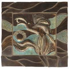 Linda Maxson California Artist Ceramic Plaque Depicting a Bird