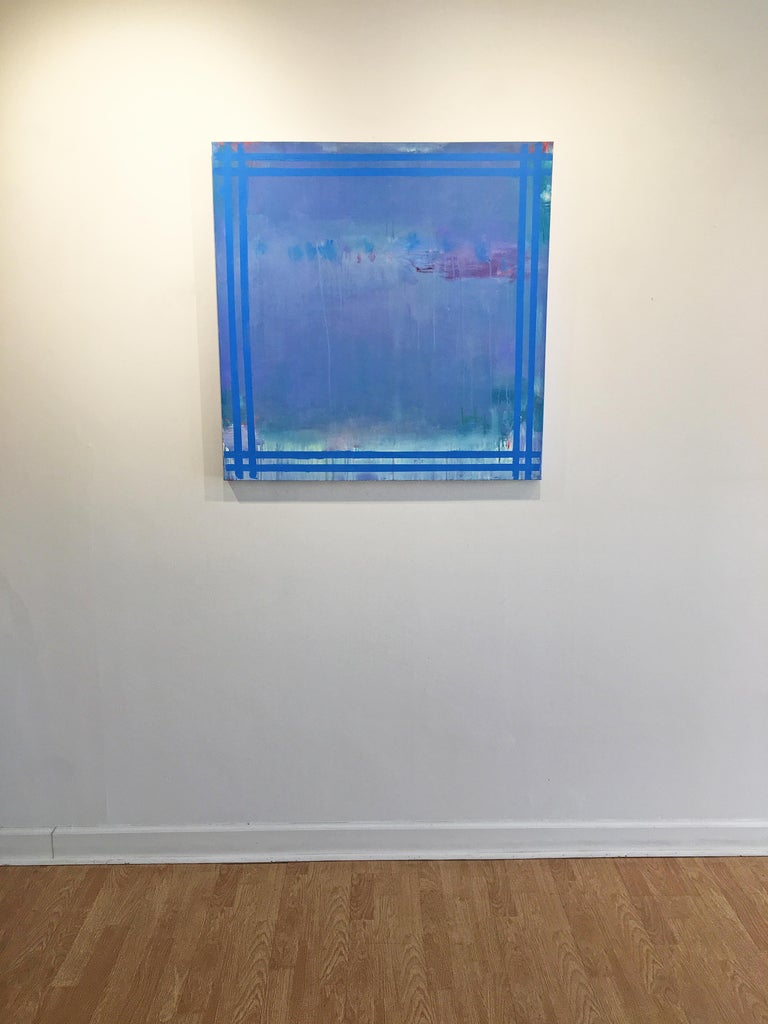 Je T'aime 11 - Blue Abstract Painting by Linda Touby
