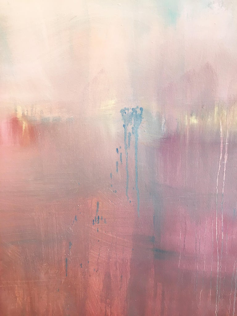 'Je T'aime 6' by Linda Touby, 2018. Oil on canvas, 48 x 60 inches. This painting features textural, cumulative layers of brushstrokes on a flat field of color. The floating zones of luminous pigments are in colors of pink, red, blue, and yellow.