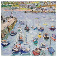 Linda Weir, English, St Ives Harbour, Cornwall, Oil on Canvas