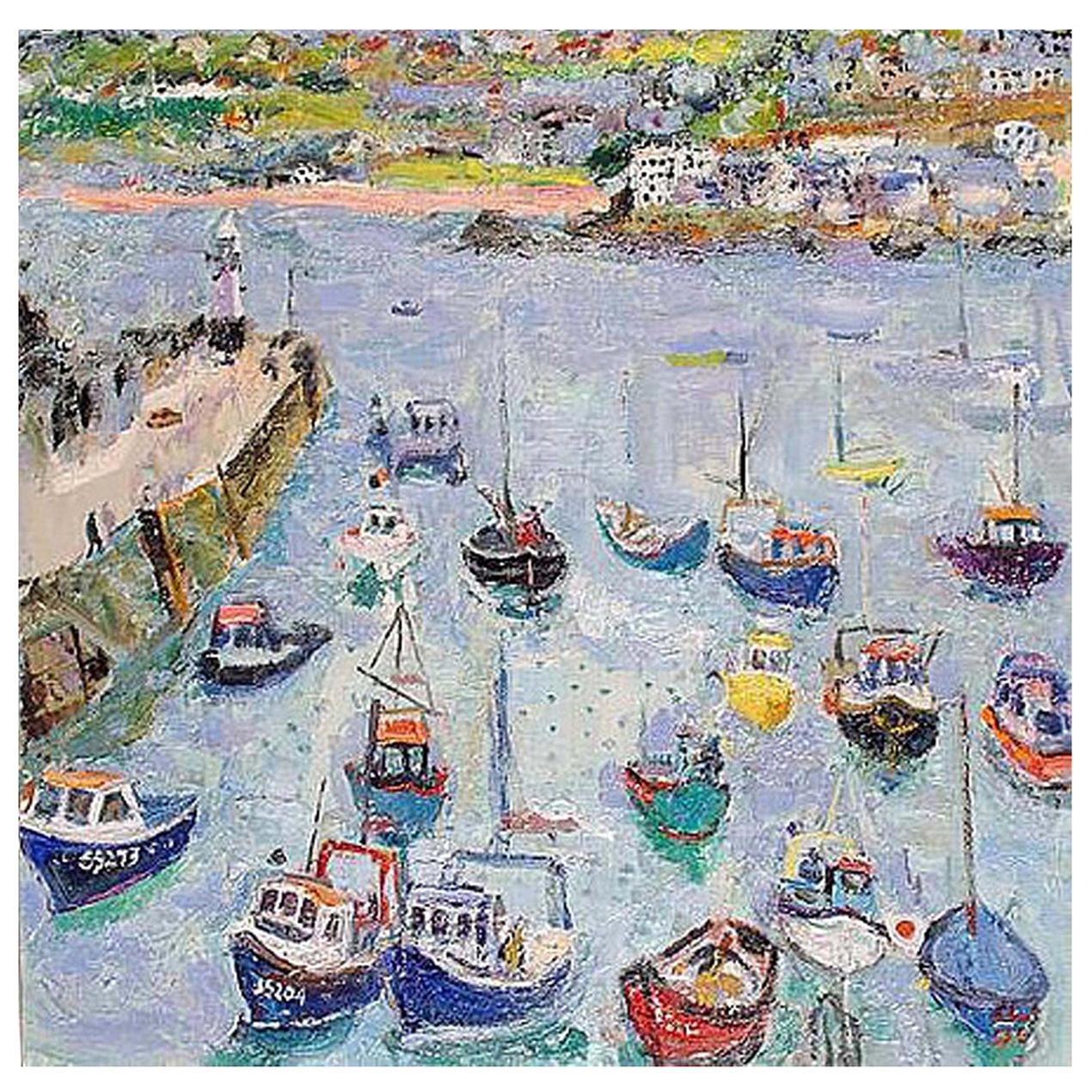 Linda Weir English St Ives Harbour Cornwall Oil on Canvas Painted in 2006
