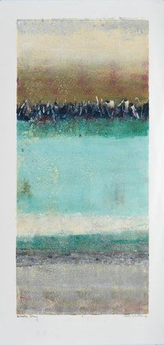 """""""Glassy Day B""""  Mixed Media Abstract by Maui Artist Linda Whittemore"""