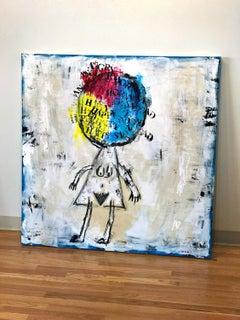 HAPPY SAD ANGRY HORNY by Linda Zacks, mixed media on canvas 2016