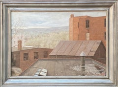 """Factory Town"" Contemporary American Industrial Oil Painting Maine 1987 Realism"