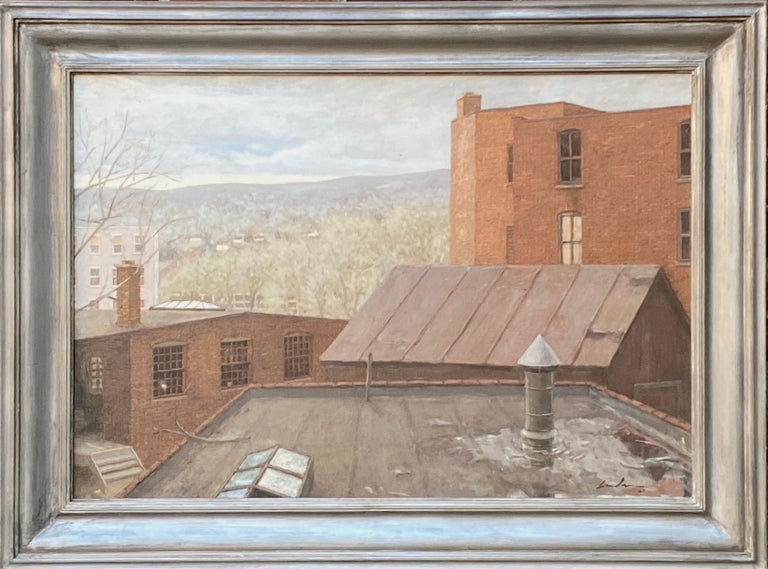 """Linden Frederick Landscape Painting - """"Factory Town"""" Contemporary American Industrial Oil Painting Maine 1987 Realism"""