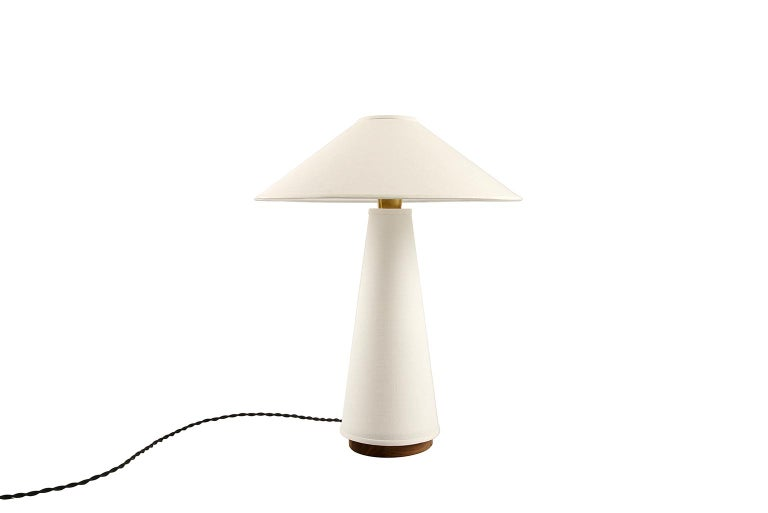 Mid-Century Modern Linden Table Lamp with Contemporary Linen Shades by Studio DUNN For Sale