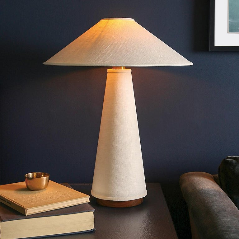 American Linden Table Lamp with Contemporary Linen Shades by Studio Dunn For Sale